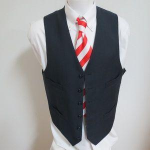 Sz 41 Navy Blue Plaid Men 100% Wool #16Q Suit Vest
